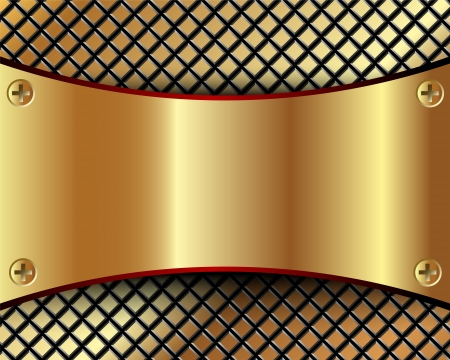 Background with a metallic gold plate and grid for your design Vector