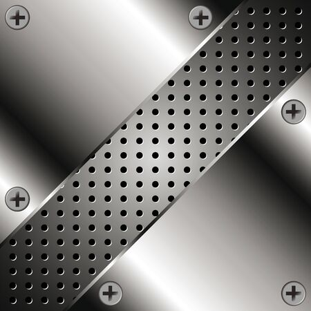 Background with metal plates and grid for your design Vector