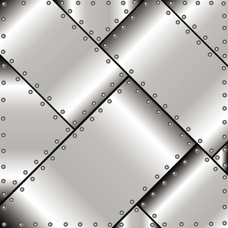 Background of polished metal plates with rivets Vector
