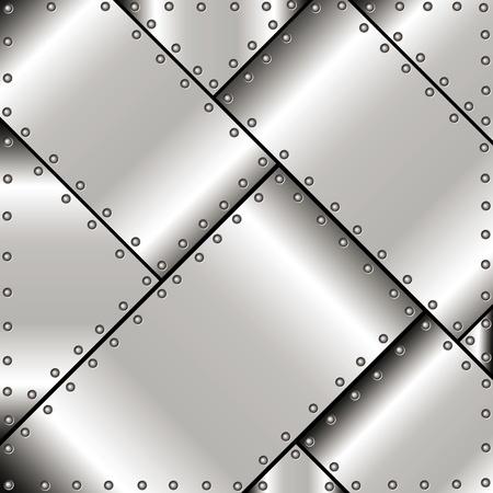 lamiera metallica: Sfondo di lastre di metallo lucido con rivetti