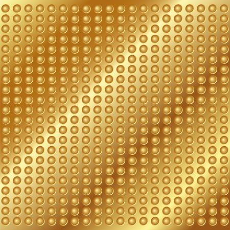 Gold metal background with rivets for your design Vector