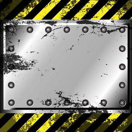 rivet: Grunge metal background with warning stripe Illustration