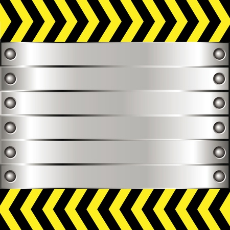 Metal background with rivets and warning stripe Vector