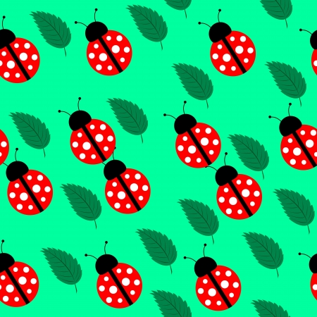 Seamless background with leaves and ladybird for your design Stock Vector - 17571579