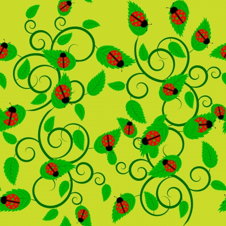 Seamless summer background with ladybug and leaves Stock Vector - 17571584