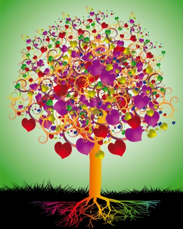 albero della vita: Amore albero magico con cuori colorati per il vostro disegno Vettoriali