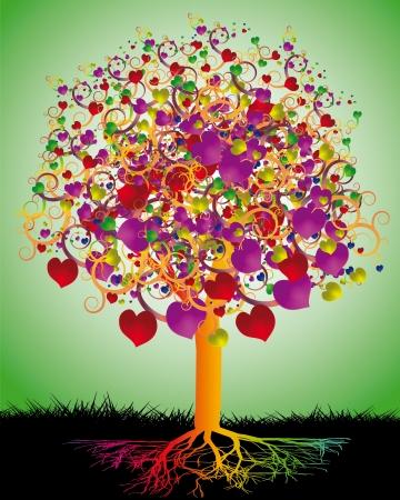arbol de la vida: Árbol de amor mágica con corazones de colores para su diseño