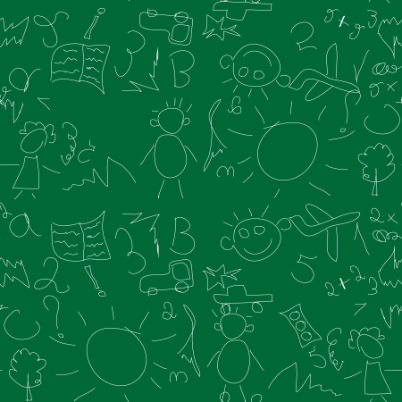 Kids seamless pattern with chalk on a school blackboard Stock Vector - 17730017