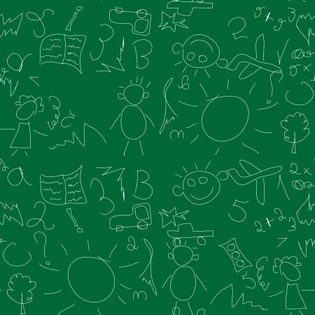 Kids seamless pattern with chalk on a school blackboard Stock Vector - 17730017