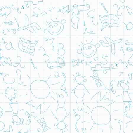 Seamless pattern with children's drawings on the simple exercise book Stock Vector - 17730018