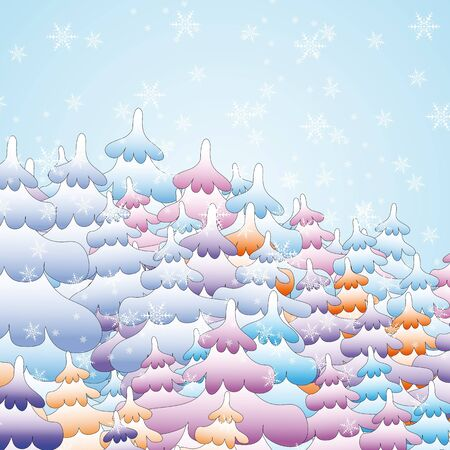 Winter fairy forest with Christmas trees and snowflakes Stock Vector - 17730020