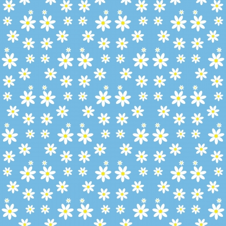 Seamless pattern with daisies on a blue background Stock Vector - 17886925