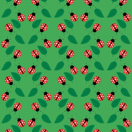 Seamless pattern with ladybugs and leaves for your design Stock Vector - 17886916