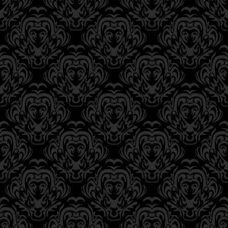 Seamless black pattern with decorative design