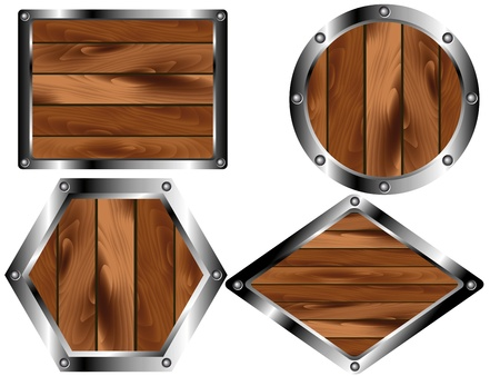 casing: A set of wooden plates in the metal casing Illustration
