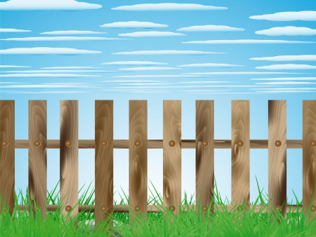 Provincial landscape with wooden fence with grass and sky Stock Vector - 17886991