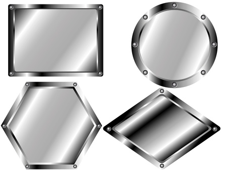 nameplate: A set of metal plates of different shapes