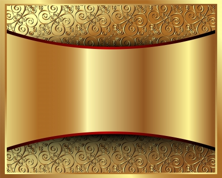 brown swirl: Metallic gold background with pattern and space for text