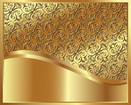 bronze background: Metallic gold background with decorative elements Illustration