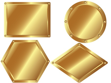 A set of gold metal plates on white background