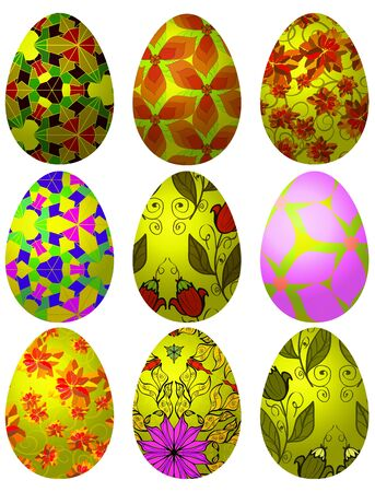 Set of colorful Easter eggs with ornaments for your design Vector