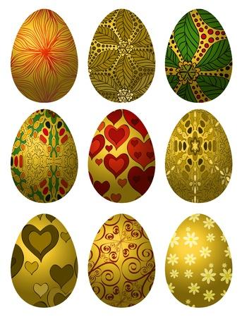 Set goldene Ostereier mit verschiedenen Mustern auf weißem Hintergrund Standard-Bild - 18210126