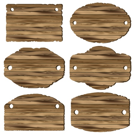 A set of wooden planks on white background