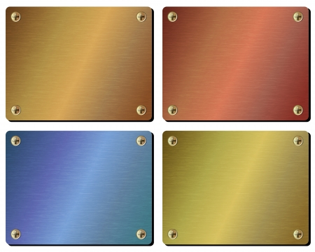 Set realistic metal plate isolated on white background
