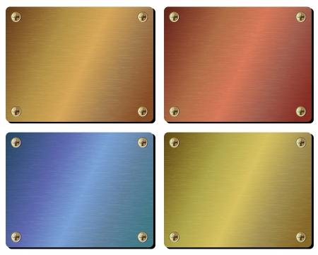 Setzen Sie sich realistische Metallplatte isoliert auf weißem Hintergrund Standard-Bild - 18210133