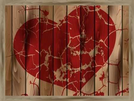 Abstract cracked red heart on a wooden background Stock Vector - 18210135