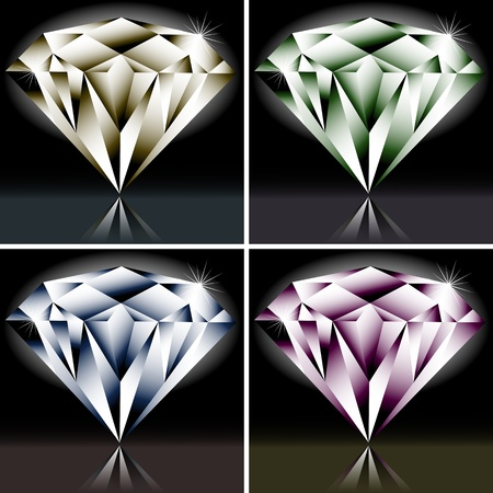 Set of colored diamonds for your design Vector