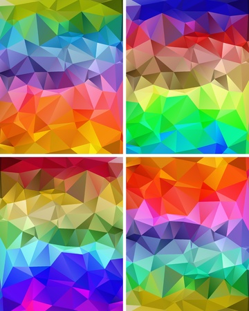 multi coloured: Set of colorful abstract backgrounds polygon for your design