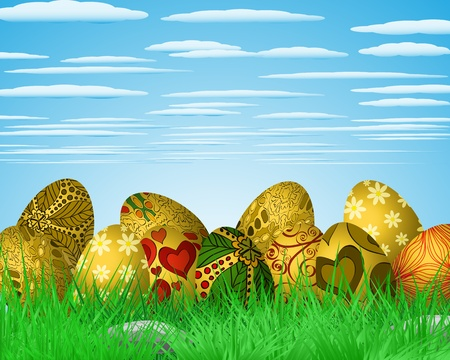 Easter colorful illustration with eggs lying on green grass Stock Vector - 18380945