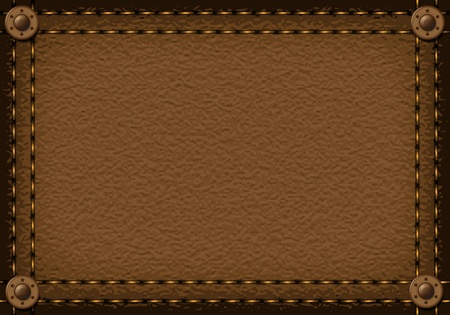 Leather background with rivets for your design Illustration