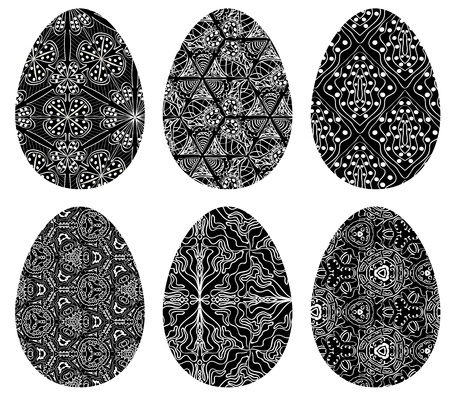 Monochrome set of Easter eggs with pattern on white background Vector