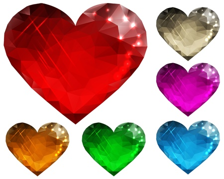polygon set of glass hearts in different colors on a white background
