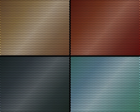 A set of metal backgrounds of perforated metal of different colors Vector