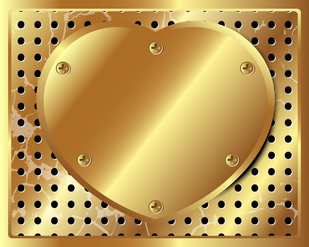 grille: Gold metal heart on a perforated metal background for your design Illustration