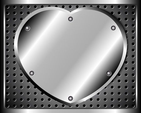 Polished steel heart and a riveted metal grid Vector