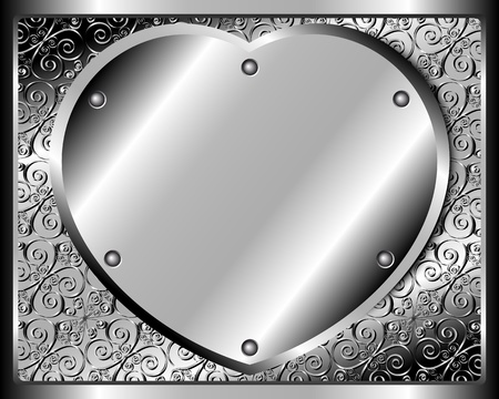 platinum style: Metal heart on a riveted metal background pattern