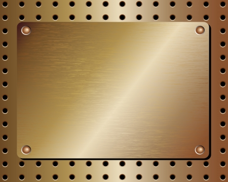 brass plate: Realistic metal plate background with a riveted