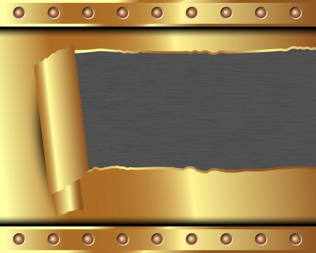 Metallic gold background with a broken metal for your design Stock Vector - 19004426