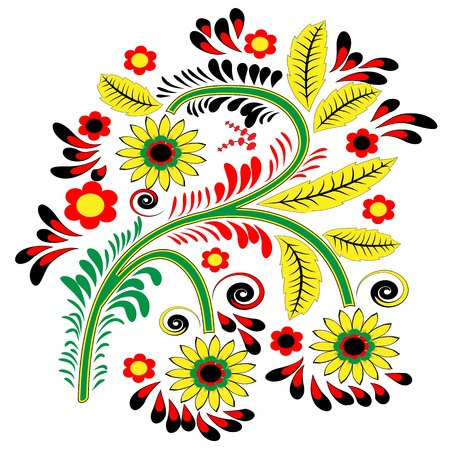 Floral patterned element on a white background in the style Khokhloma Illustration