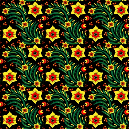 russian culture: Seamless floral pattern in Khokhloma style for your design