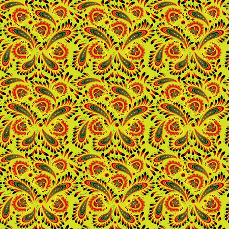 Seamless floral pattern in Khokhloma style for your design Vector