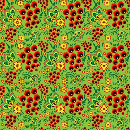 Beautiful seamless pattern with flowers and bunches of rowan Vector
