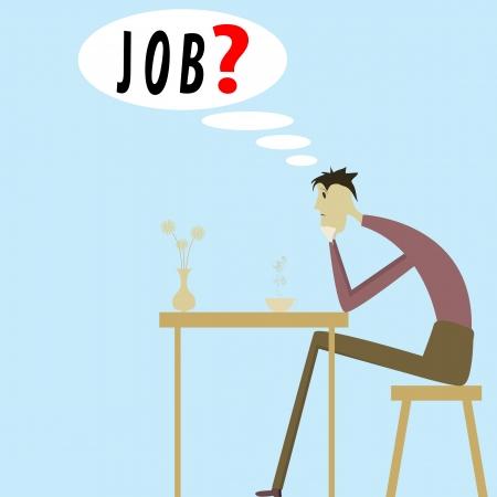 Desempleado joven triste y el problema del desempleo Ilustración de vector