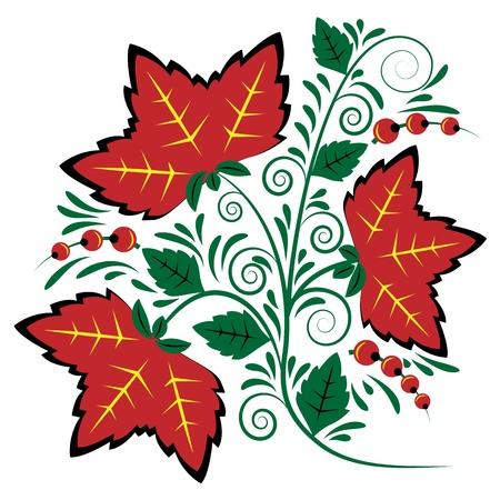 Flower deco style khokhloma painting on a white background Vector