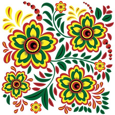 berry fruit: Flower deco style khokhloma painting on a white background
