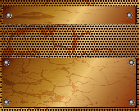 metal plate: Metallic black background with grid and plate with rivet